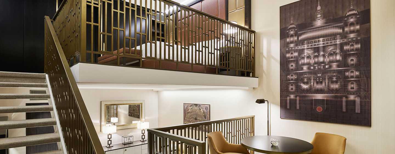 Hilton Budapest Hotel, Ungarn– Suite mit Loft und King-Size-Bett