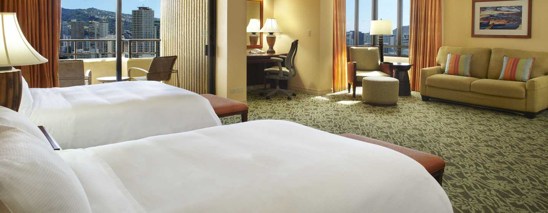 Hilton Hawaiian Village Waikiki Beach Resort Hotel, Honolulu, Hawaii, USA– Zimmer mit Meerblick im Tapa Tower