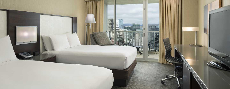 Hilton San Francisco Union Square Hotel, Kalifornien, USA– Zimmer mit Doppelbetten