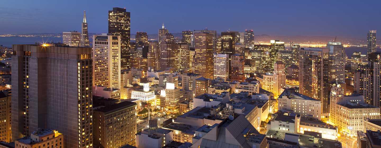 Hilton San Francisco Union Square Hotel, Kalifornien, USA– Unsere großartige Skyline bei Abenddämmerung