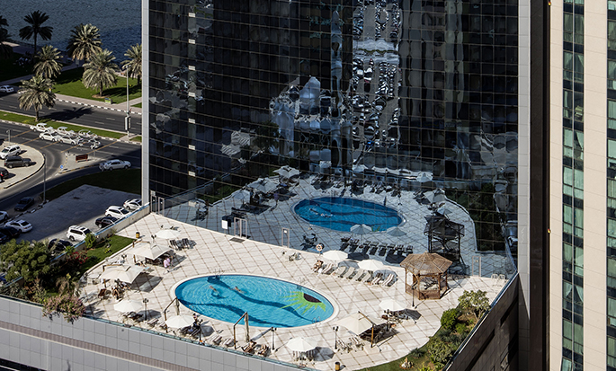 Hilton Sharjah Hotel, UAE - Aerial View of Pool